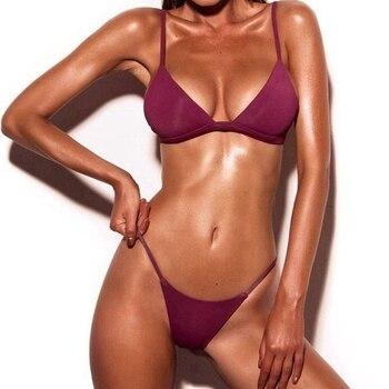 Sexy Solid Top Thong Micro Bikini