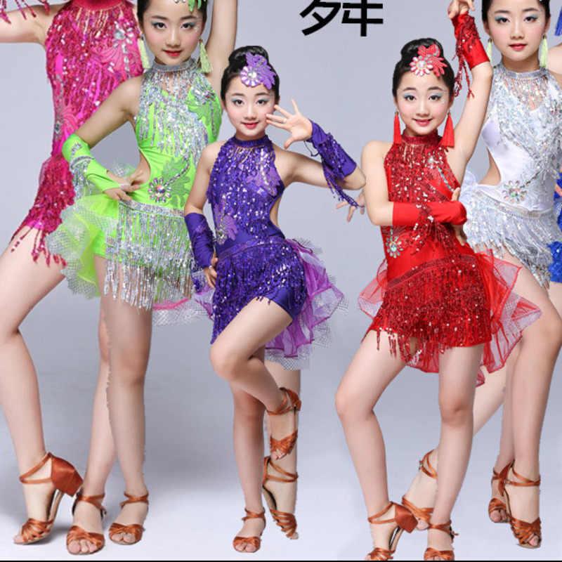 Платье для сальсы с бахромой и блестками; Детские платья; одежда для латинских танцев для девочек; одежда для латинских бальных танцев и Танго из спандекса для детей; коллекция 2018 года; Румба