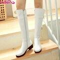 2016 nueva Hebilla de Ocio Zapatos de Moda Mujer Botas de Montar Blanco Zapatos de invierno de Las Señoras Cuadrados Talón Rodilla Botas Altas Más El Tamaño 34-43