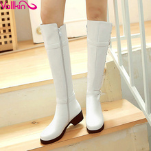 New  2016  Buckle Leisure Shoes Women Fashion Riding Boots White Winter Shoes Ladies Square Heel Knee High Boots Plus Size 34-43
