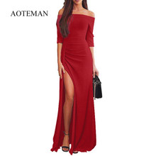 af1893bc16 Sexy Summer Autumn Bodycon Dress Women 2019 Fashion Slash Neck Party Dresses  Elegant Off Shoulder Sequin Dress Red 3XL vestidos