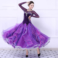 Customize High Quality ballroom dance competition dresses waltz rhinestone ballroom dress purple women ballroom dance Costumes