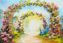 Laeacco Flowers Arch Door Painting Wedding Photography Backgrounds Customized Photographic Backdrops For Photo Studio