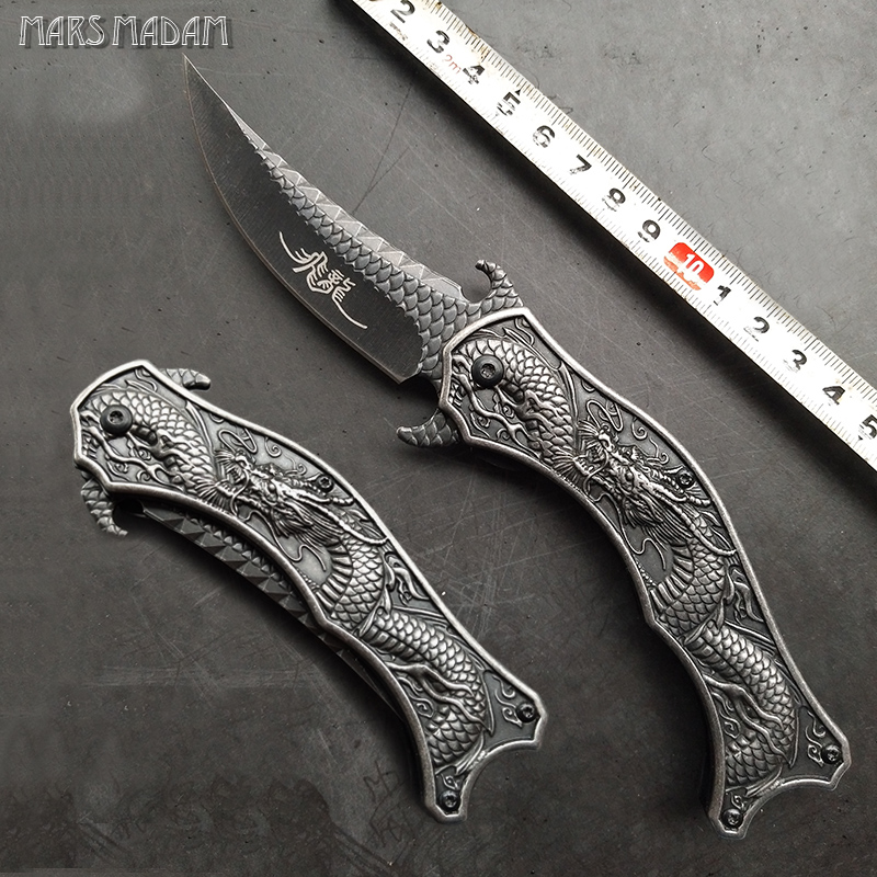Classical dragon carving Folding Knife Pocket Knife Outdoors Camping EDC Rescue Tools Tactical Hunting Knife
