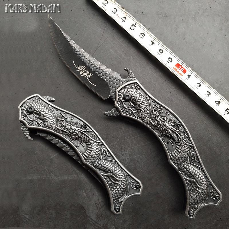 クラシックドラゴン彫刻折りたたみナイフポケットナイフ屋外キャンプEDCレスキューツール戦術狩猟ナイフ