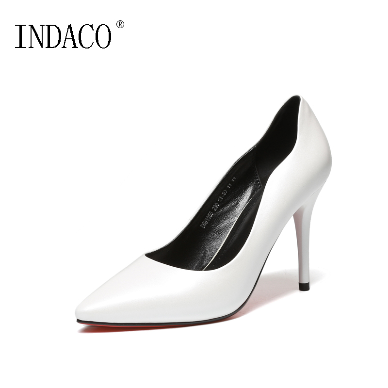 Spring White High Heel Pumps Red Bottom Pointed Toe Genuine Leather OL Style Office Shoes 9.5cm Zapatos De Mujer De Moda new 2016 factory matte shoe women pointed toe red bottom low heel pump lady single ol work career spring fall shoes 678 2suede