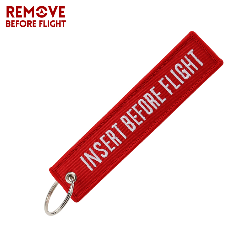 Fashion Jewelry Keychain for Motorcycles and Cars OEM Key Chains Red Embroidery Key Fobs INSERT BEFORE FLIGHT  Key Chain Tag (9)