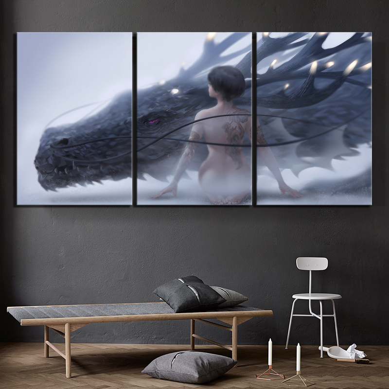 3 Piece Fantasy Art HD Pictures Dragon and Sexy Girl Poster Artwork Paintings Game of Thrones Poster Wall Art for Home Decor 3