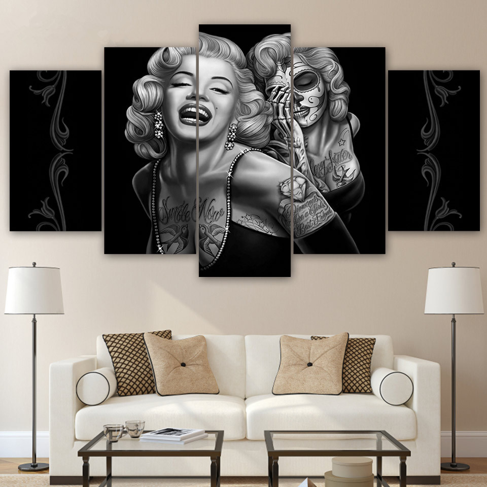 5 Pcs Day of the Dead Marilyn Monroe Sugar Skull Canvas Wall Art Painting Decor
