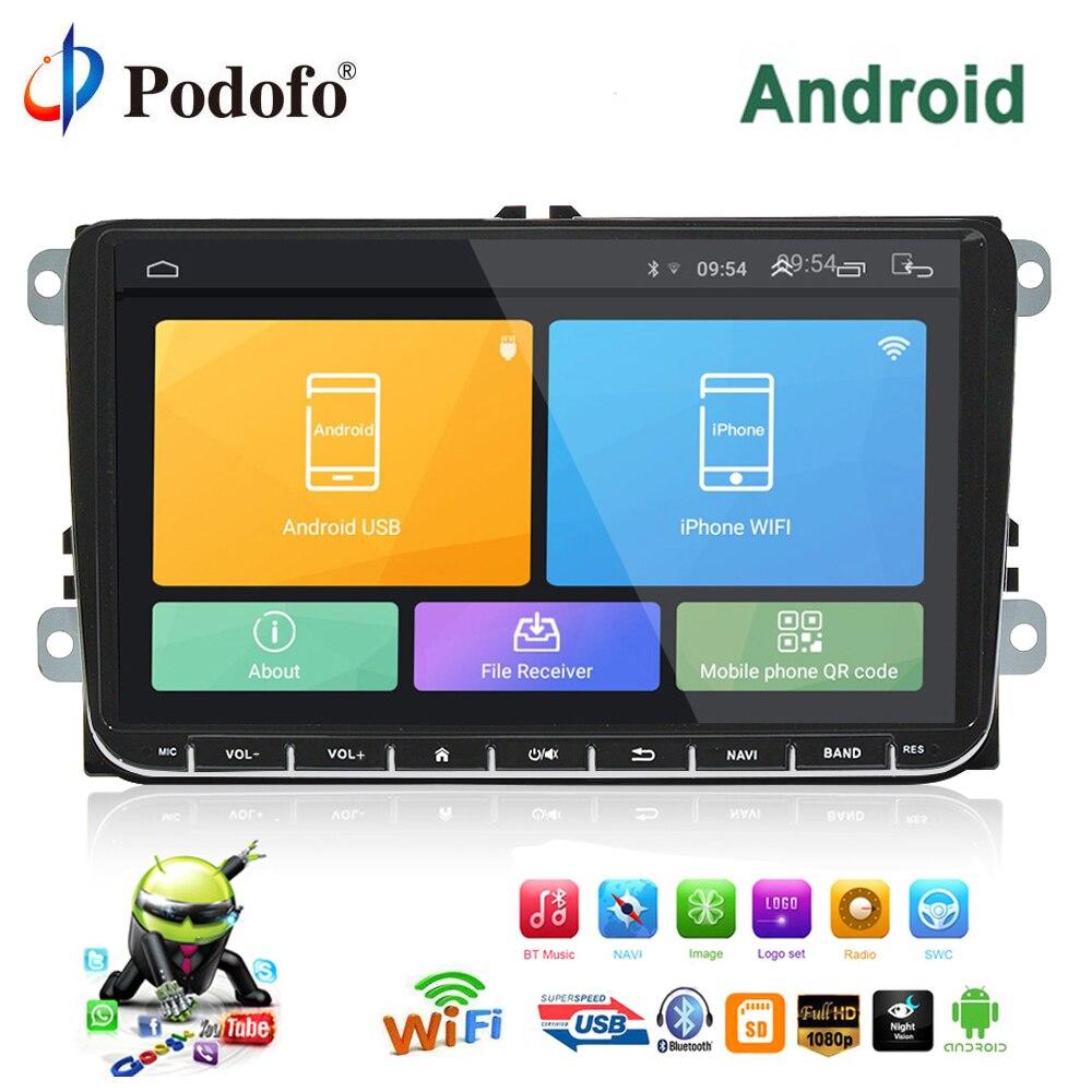 Podofo автомобильный мультимедийный плеер 2 Din Android gps навигации 9 Car стерео радио для VW/Volkswagen/Golf /Поло/b7/SEAT/Skoda Canbus