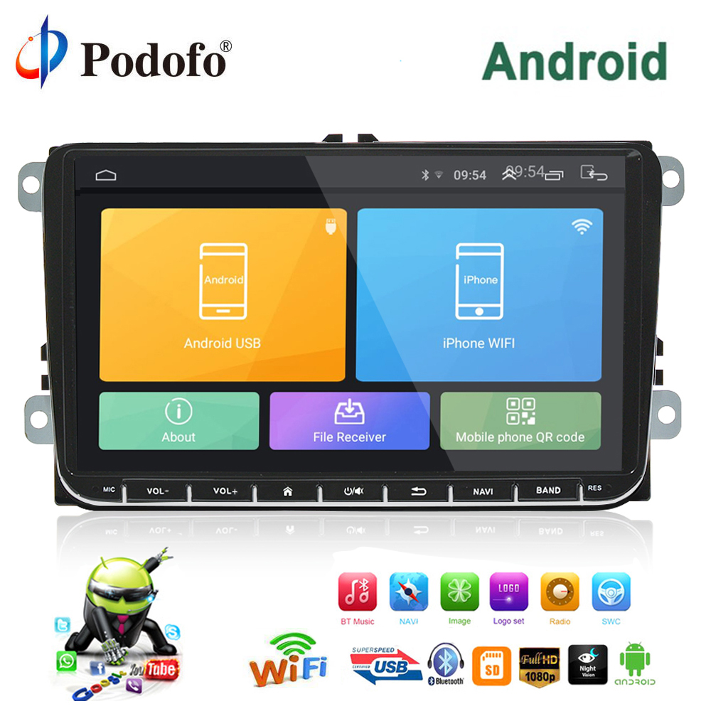 Podofo Car Multimedia player 2 Din Android GPS Navigation 9 Car Radio Stereo For VW/Volkswagen/Golf/Polo/b7/SEAT/Skoda Canbus