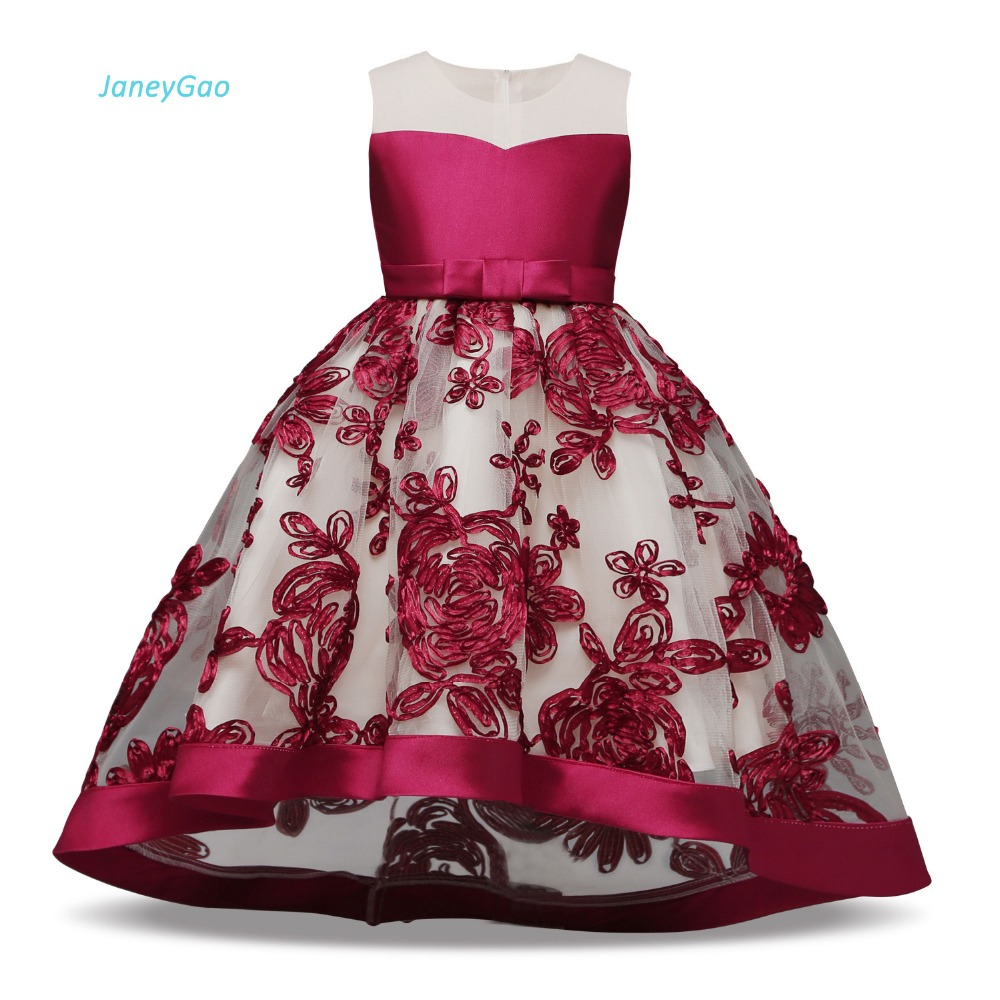 JaneyGao   Flower     Girl     Dresses   For Wedding Party Elegant With A Train First Communion   Dresses   Dinner Gown Fashion Elegant In Stock