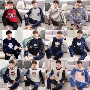 Pijama grande para niño de Otoño/Invierno de algodón puro de manga larga de terciopelo coral, estudiantes de secundaria, 15, ropa de hogar de 16-17-18 años