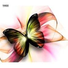 Yikee Алмазная вышивка цветы Бабочка крестом diy мозаика стразы