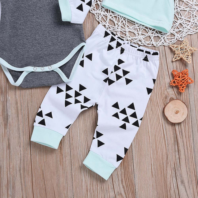 MUQGEW Newborn Baby Clothes Tops T-Shirts Long Sleeve Pants Legging Hat Casual Clothing 3PCS Set Baby Boys Girls Outfits /PY