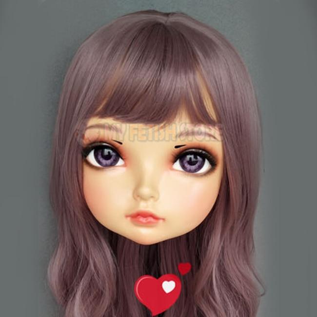 Beautiful female Sweet Girl Resin Half Head Kigurumi Mask With Bjd Eyes Cosplay Japanese Anime Role Lolita Mask Crossdress Doll sha-02