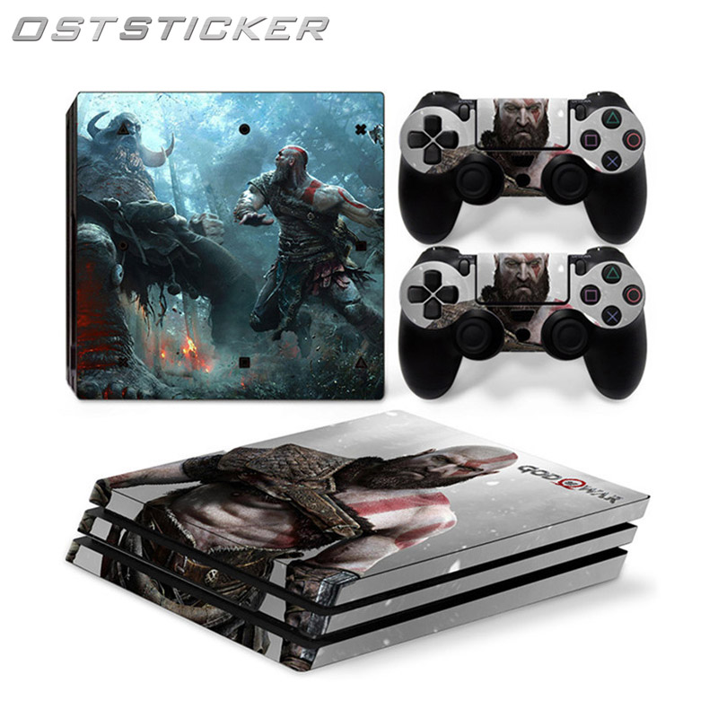 OSTSTICKER Strong Man PVC Waterproof Skin Stickers For PS4 Pro Console & 2pcs Controller Vinyl Decals Cover