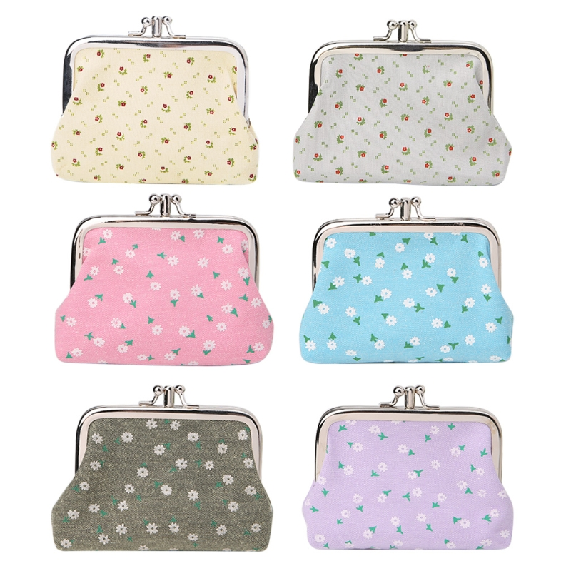 THINKTHENDO Retro Women Lady Hasp Purse Double Layer Clutch Bag Elegant Flower Small Coin Purses