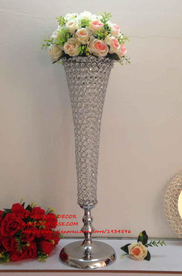 Tall wedding table centerpiece crystal flower holder decor
