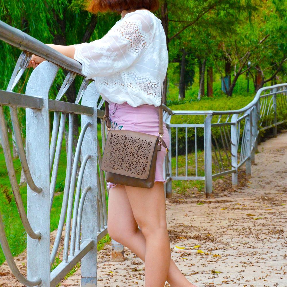 BONAMIE New Lady Vintage Bandolera Bandolera Hollow Out Flap Fashion - Bolsos - foto 2