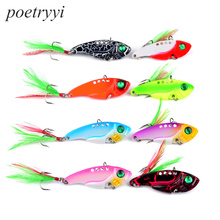 POETRYYI  New Arrival 1pc 11g 5.5CM 6 # feather hook Fishing Tackle Lead fish Bait 6colors lure 30