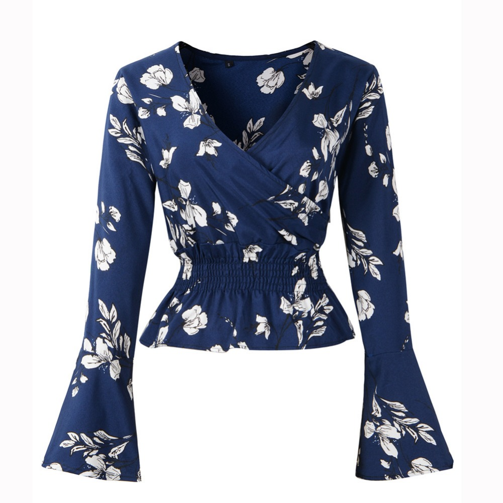 Sexy V-neck Women Shirt Blouses Autumn Spring  Floral Print Female Short Crop Top  Long Flare Sleeve Lady Chiffon Shirt