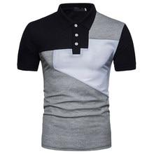 Mens camisa de polo de la marca 2018 verano nuevo patchwork geométrica Polo  hombre casual slim fit manga corta contraste color c. 4e9dc60a1cbc8