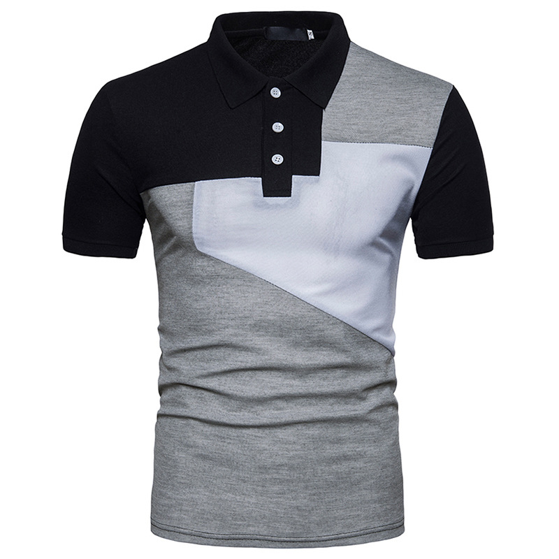 Mens Brand   Polo   Shirt 2018 Summer New Patchwork Geometric   Polo   Homme Casual Slim Fit Short Sleeve Contrast Color Camisa   Polo   XXL