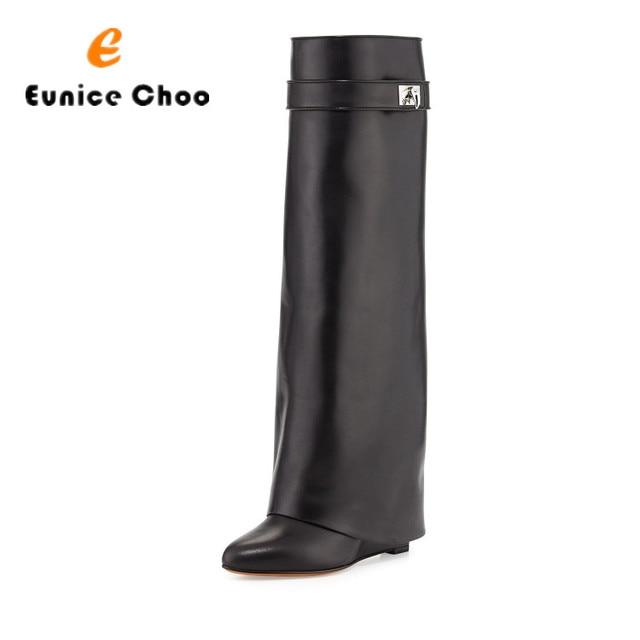 Eunice Choo Black Leather Shark Lock Belt Strap Knee High Long Straight Boots Strap Hidden Wedge Heel Slip On Short Zipper Boots