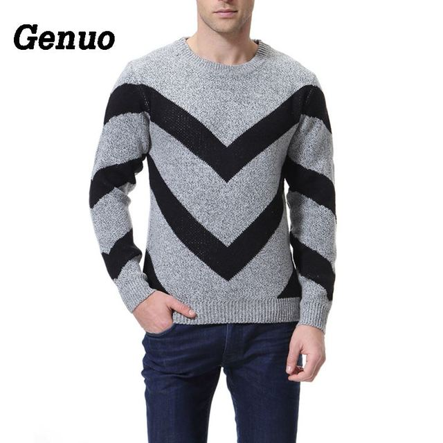 Genuo Color Block Sweater Autumn Fashion Classic Patchwork Men Pullover Tops Pull Homme Striped Long Sleeve O-Neck Slim Sweater