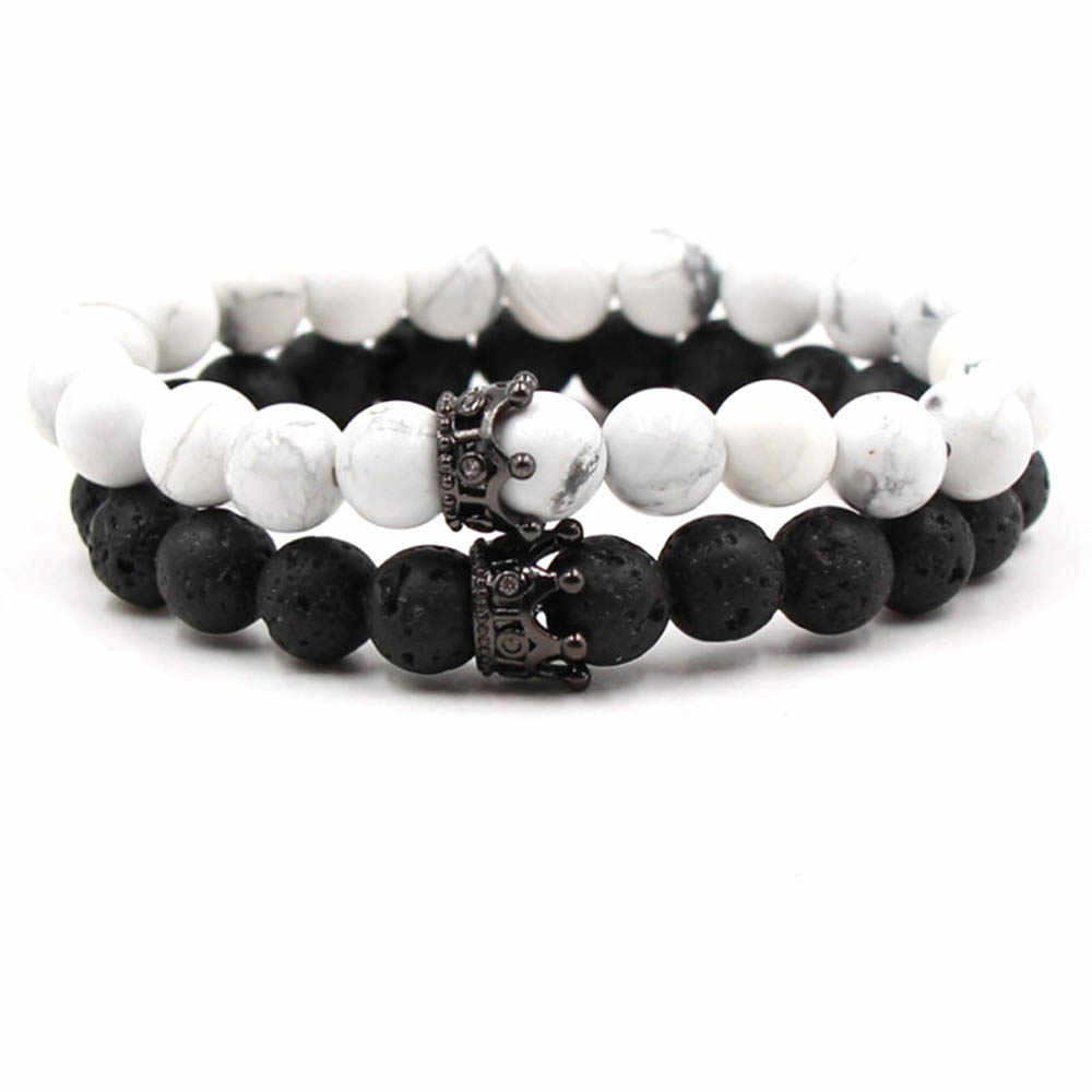 3840f2eaff Detail Feedback Questions about Set of 2pcs Natural Stone Beads Bracelet  Bangle King and Queen Crown Couples Charm Bracelet for Women Men Fashion  Jewelry ...