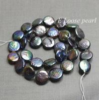 Unique Pearls jewellery Store Genuine Freshwater Coin Pearl Black Loose Beads 12 13mm Bridal Design Wedding Full Strand