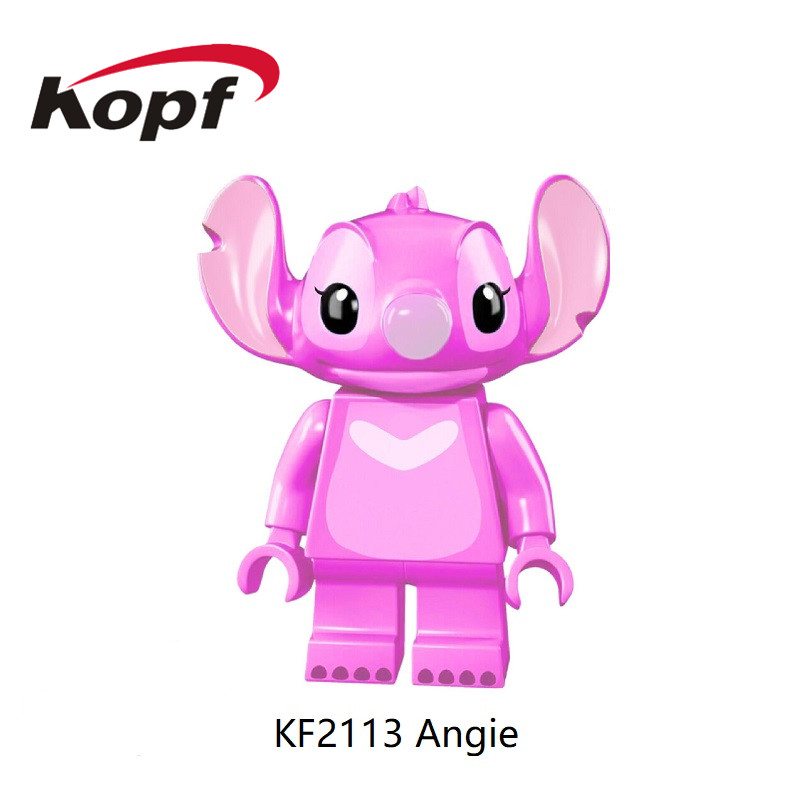 50Pcs Wholesales Building Blocks Super Heroes Pink Angie Blue Stitch Bricks Learning Figures For Children Toys KF2113 KF2112 image
