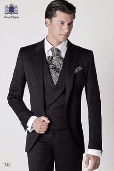 Fantastic One Button Black Groom Tuxedos Groomsmen Peak Lapel Mens Suits Blazers (Jacket+Pants+Vest+Tie) W:1176