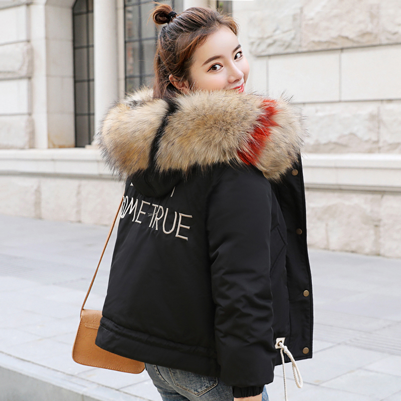 New Arrival Winter Jacket Women With Fur Collar Hooded Breasted Buttons Female   Coat   Padded Outwear Womens Parka