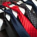 Retro de Los Hombres de traje y corbata de lazo de la cremallera a cuadros de la raya de impresión de poliéster de negocios Gravata para hombres y el novio corbata de negocios Vestidos