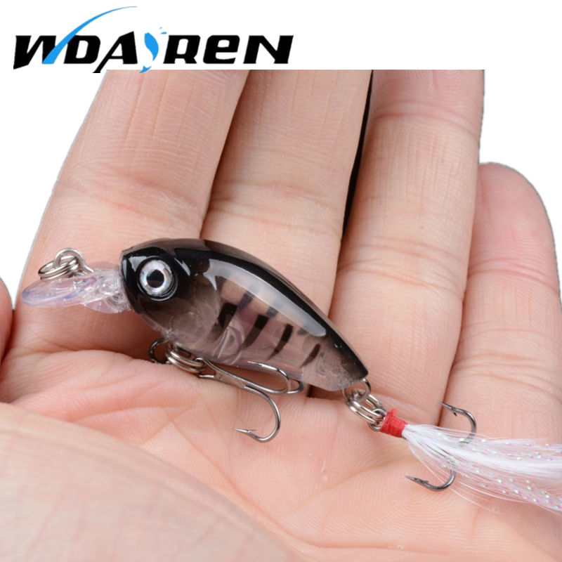 WDAIRE Fishing Lures Crank Baits Mini 3.6cm 4g Crankbait 3D Fish Eye Artificial Lure Bait with Feather Lifelike Fake Lure FA-353 1pcs 9cm 7g hard fishing lures crank bait crankbait 3d eye swimbait wobbler feather minnow lifelike fake lure 10 colour fa 181