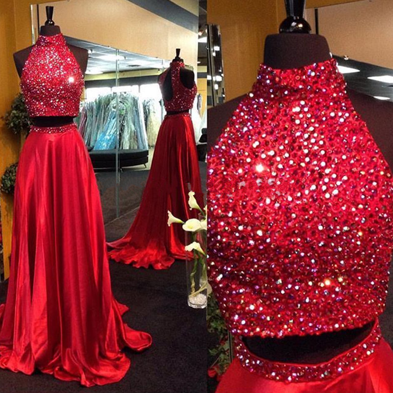 Luxury Bling Bling   Prom     Dresses   Two Piece 2019 Vestidos de gala A Line Beaded Crystal Satin Imported Party   Dress   Evening Gowns