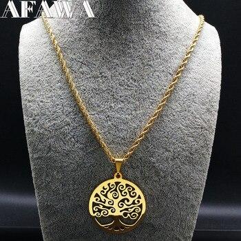 bf37f0256478 2019 de moda Árbol de la vida de collares de acero inoxidable de las  mujeres de joyas de oro Color collares largos joyería collares de joyas  N18042