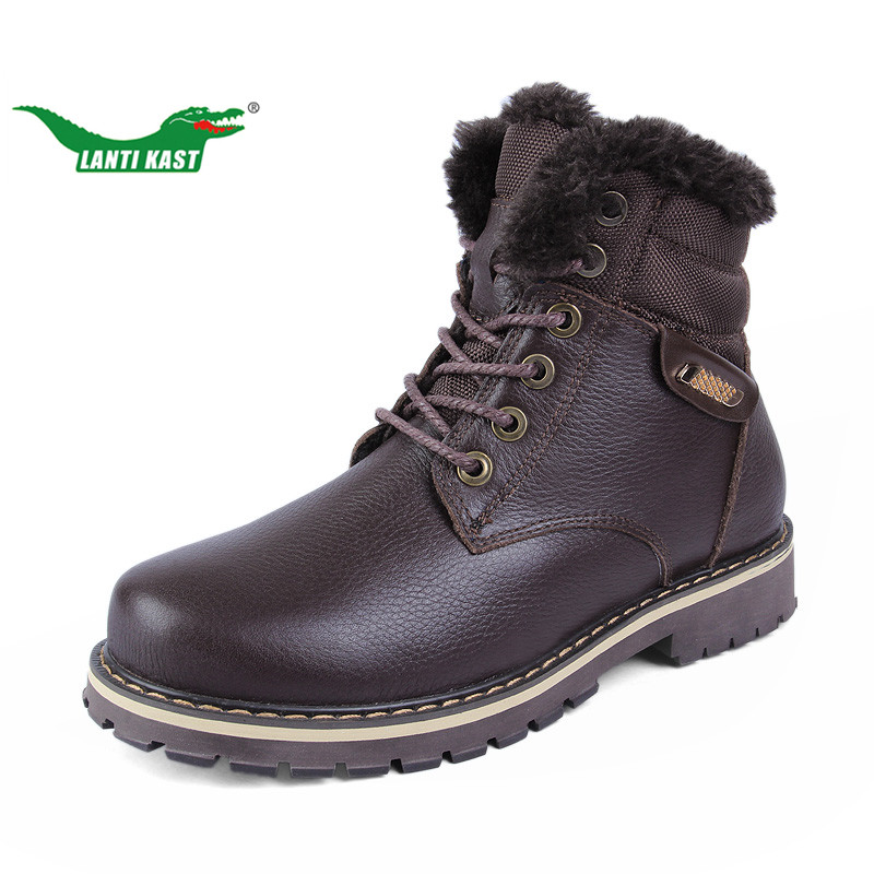 LANTI KAST Large Size 37-50 Snow Hiking Boots Men Rubber Sole Non-slip Hiking Shoes Winter Plush Warm Sneakers Handmade Shoes