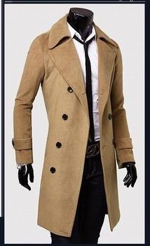 Black grey khaki long trench coat men commercial wool coat casual slim woolen coats casacos masculino 2016 overcoat plus size