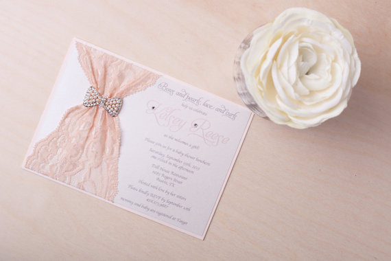 vintage invitation blush and ivory lace invitation bridal shower wedding invitation with bow brooch