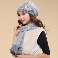 Charles Perra Women Hat Scarf Sets Double Layer Winter Thicken Wool Knitted Hats Casual Handmade Woven Woolen Beanies Caps 3033
