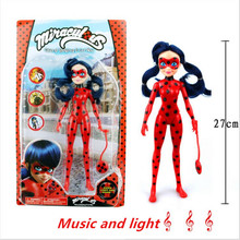 27CM Miraculous Ladybug Comic Ladybug Girl Musical Light Movable Doll Joints Action Figure Toys Cute Anime Toys for Child Gift