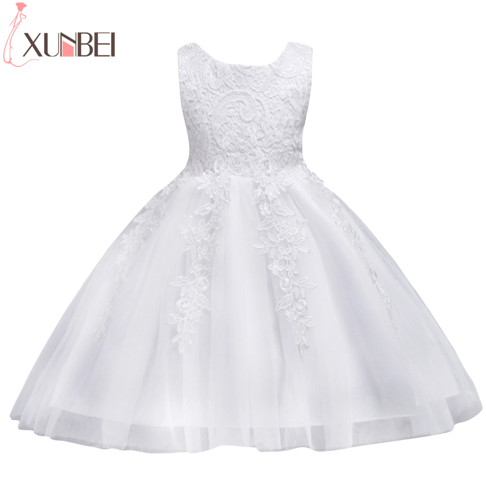 Lovely O Neck Lace Flower Girl Dresses 2020 Sleeveless Lace Appliques Bow Belt Princess Pageant Kids Prom Dress