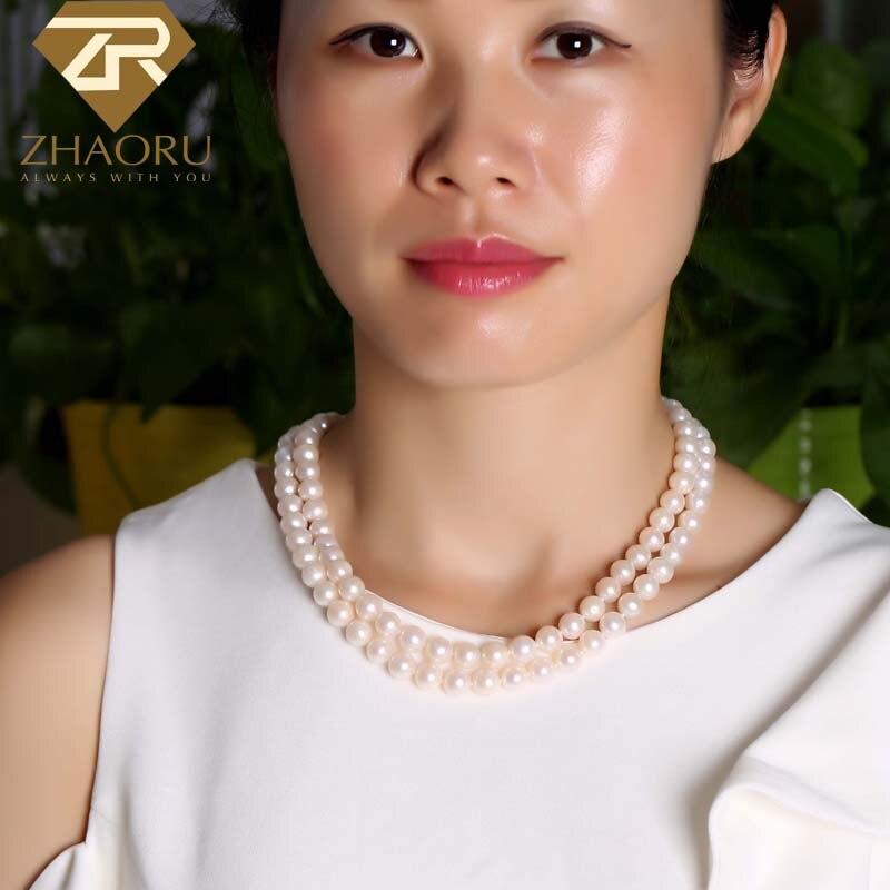 ZHAORU collier de perles d'eau douce naturelles bijoux fins Original Double rangée collier de perles femmes cadeau fiançailles