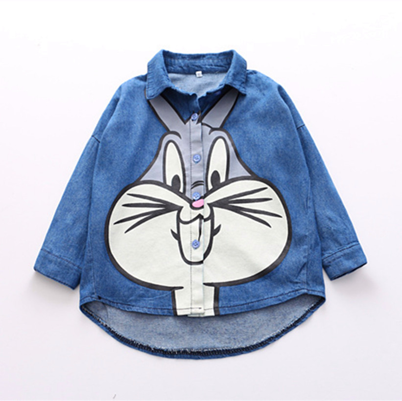 Fashion Summer Cartoon Bugs Bunny Clothes Kids Girls Blue Anime Denim Jean Blouses Clothing Top Tees Costume For Children Gift