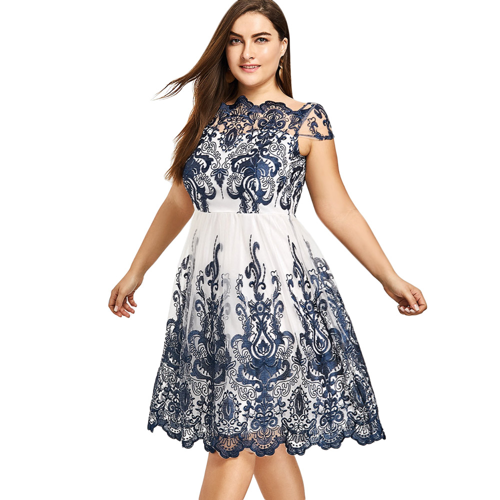 1d8c5d401e6 Kenancy Plus Size Boat Neck Party Dress Navy Color Embroidery Floral Print  Organza Ball Gown Rockabilly Swing Vintage Dress Robe