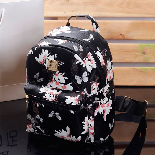 2017 Women Cute School Bags Backpack Mini Fashion Back Pack Floral Printing  Black Small PU Leather Backpack For Teenagers Girls ebcc6689408f3