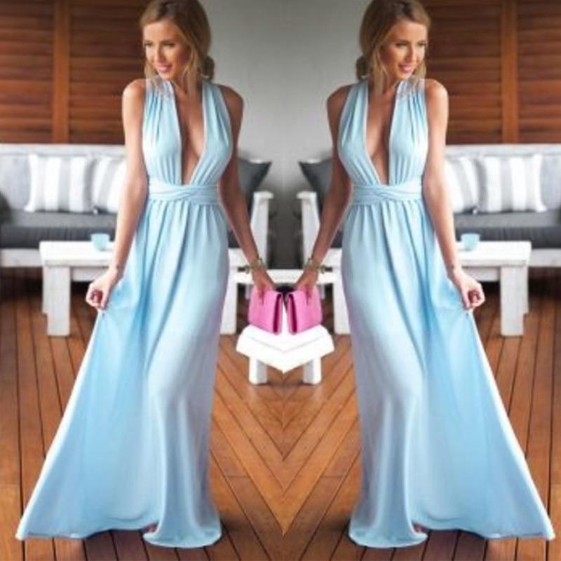 Charming Blue Chiffon Bridesmaid Dresses Sexy Deep V-neck Draped Prom Gowns